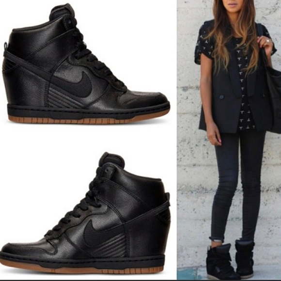 6bfe6362746 Nike Dunk Sky Hi Black Leather Wedge Sneaker EUC. M 5a47dd3846aa7c3fbd164393